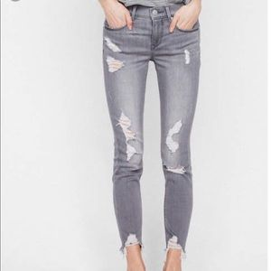 Gray Distressed Jegging